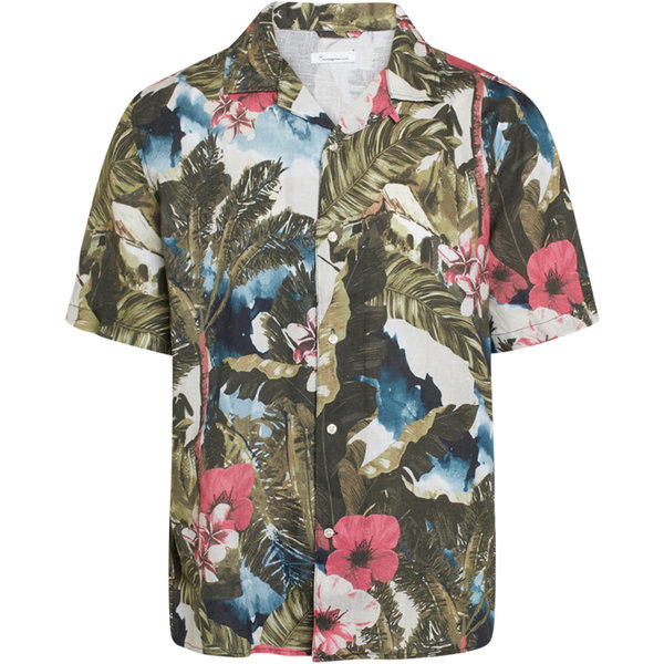 Knowledge Cotton Apparel WAVE loose fit hawaii printed linen shirt